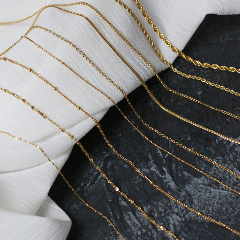 Shiny Thin Gold Color Stainless Steel Snake Twisted Beaded O Shape Chain Choker Necklace Jewelry