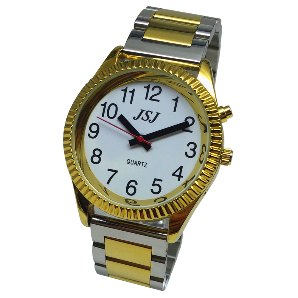 French Talking Watch With Alarm Function, Talking Date And Time, White Dial, Folding Clasp, Golden Case TAF-G205