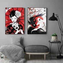 Японская картина маслом гейши и Инь Ян с рыбками на холсте настенный