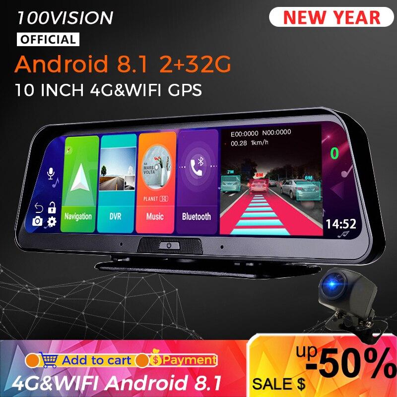ADAS 10 в 1 10 дюймов Android 8,1 видеорегистратор 2 ГБ + 32 ГБ Автомобильный видеорегистратор зеркальная камера 4G WIFI GPS Bluetooth Full HD 1080P видеорегистратор