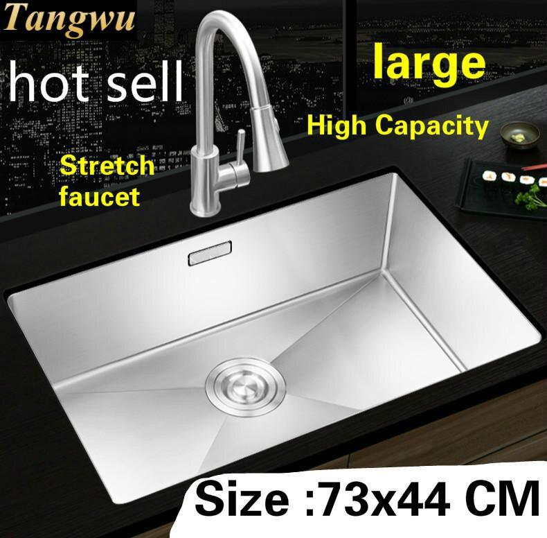 Livraison gratuite appartement cuisine manuel évier unique auge robinet extensible faire la vaisselle 304 acier inoxydable vente chaude 730x440 MM