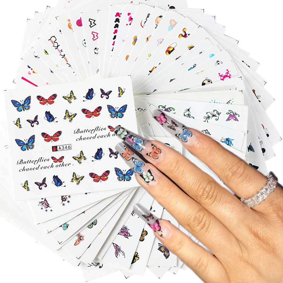 48pcs Summer Butterfly Silder Flower Nail Art Sticker Cat Cartoon Heart Watermark Colorful Nail Decals Nail Art Decor JIA337-384