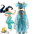 Девушки платье цвета Жасмин Аравийский костюм принцессы на день рождения для детей вечерние Рождественская Фантазия платье Жасмин карнава...