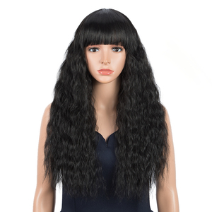 FASHION IDOL Long Wavy Wigs For Black Women Bangs Wig Synthetic Hair Ombre Blonde High Temperature Fiber Cosplay Wig Fake Hair