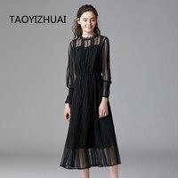 high street style autumn new long black women dress a line evening party office empire waist 100% chiffon elegant 14284