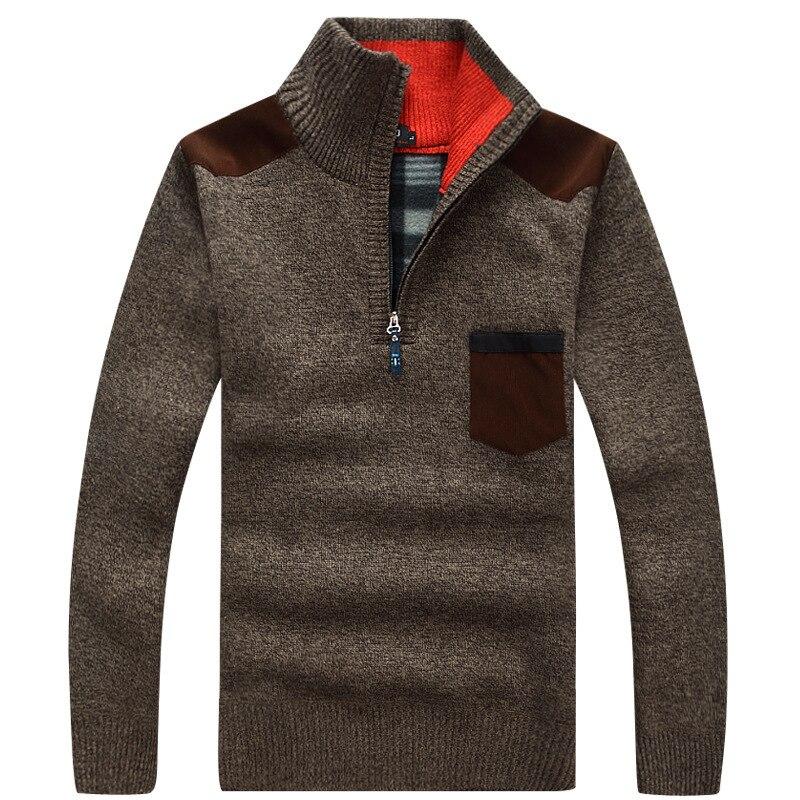 Nouveau hiver hommes pull tricoté pull mâle laine polaire épais Pullover décontracté Patchwork chaud poche chandail col montant