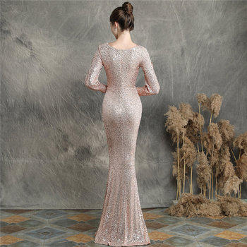 Sequins Women Party Dress DX240-6 2019 New Plus Size Mermaid Prom Dress Robe De Soiree Apricot Silver Long Sleeves Evening Dress 6