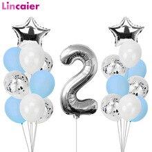 21 stücke Anzahl 2 Folie Ballons Geburtstag Party Dekorationen Mädchen Junge 2nd Luftballons 2 Jahre Alt Zweiten Geburtstag Lieferungen