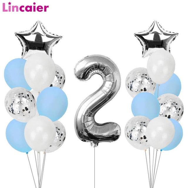 21pcs מספר 2 רדיד בלונים שמח מסיבת יום הולדת קישוטי ילדה ילד 2nd בלוני 2 שנים שני אספקת יום הולדת