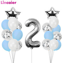 21pcs Number 2 Foil Balloons Happy Birthday Party Decorations Girl Boy 2nd Balloons 2 Years Old Second Birthday Supplies
