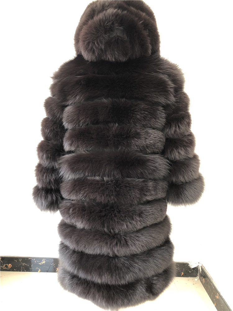 100% Natural Real Fox Fur Coat Women Winter Genuine Vest Waistcoat Thick Warm Long Jacket With Sleeve Outwear Overcoat plus size 101