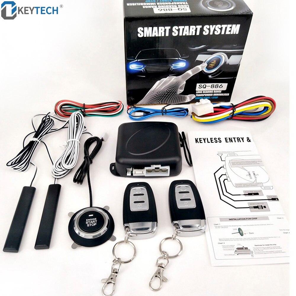 OkeyTech alarme de voiture entrée sans clé Passive démarrage à distance/arrêt du système moteur verrouillage Central PKE démarrage du moteur de voiture bouton d'arrêt