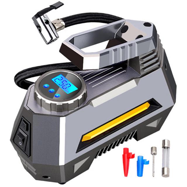 Portable Air Compressor Tire Inflator – Car Tire Pump With Digital Pressure Gauge (150 Psi 12V DC) Bright Emergency Flashlight