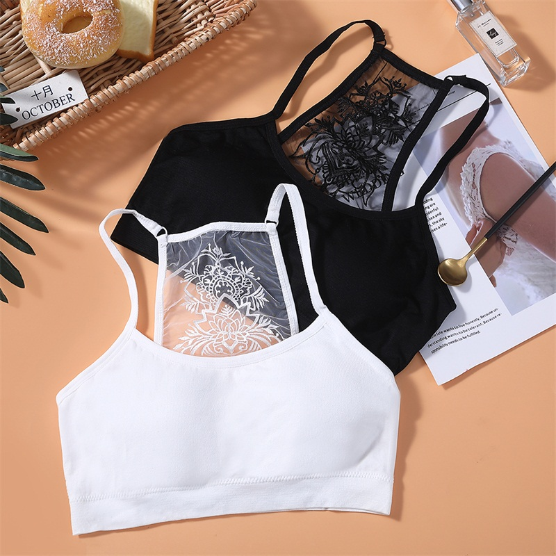 New Arrival Cropped Ladies Strapless Tops Printed Lace Ladies Inner Underwear Sexy Lntimates Solid Black White Tube Top B0042