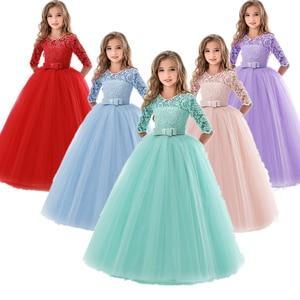 Image 1 - Платья для девочек подростков, для девочек 10, 12, 14 лет, на день рождения, бальное платье с цветами, на свадьбу, Детские Вечерние платья принцесс, детская одежда