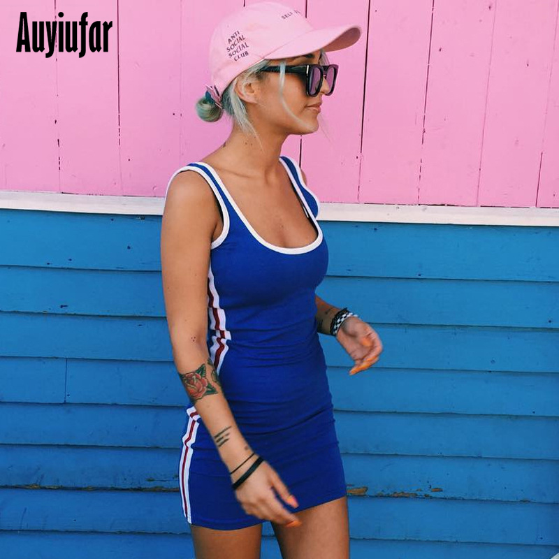 Auyiufar Sexy Summer Sleeveless Women Dress Patchwork Short Skinny Mini 2019 Fashion Casual Striped Bodycon