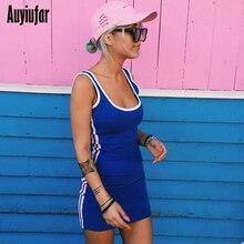 Auyiufar Sexy Summer Sleeveless Women Dress Patchwork Short Skinny Mini 2019 Fashion Casual Striped Bodycon