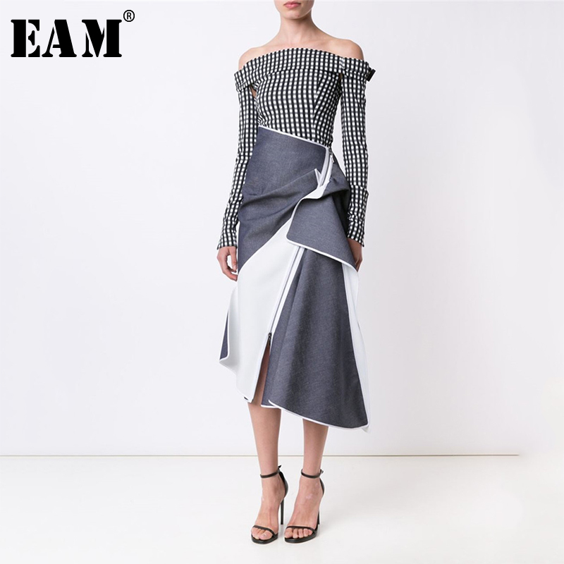 [EAM] High Waist Contrast Color Spliced Pleated Asymmetric Half-body Skirt Blue Women Fashion Tide New Spring Autumn 2020 1A244