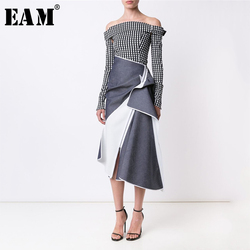 [EAM] High Waist Contrast Color Spliced Pleated Asymmetric Half-body Skirt Blue Women Fashion Tide New Spring Autumn 2020 1A244