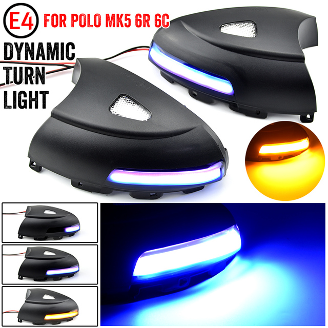 2pcs Side Mirror indicator Dynamic Sequential Flowing LED Turn Signal Light Puddle Light For VW Volkswagen Tiguan MK1 2008 2016