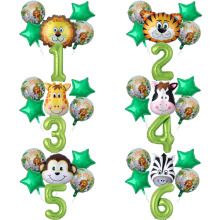6pcs/lot Birthday Kids Jungle Animal Air Balloon Safari Zoo Theme Tiger Lion Cow Monkey Zebra Baby Shower Party Decor Ballon