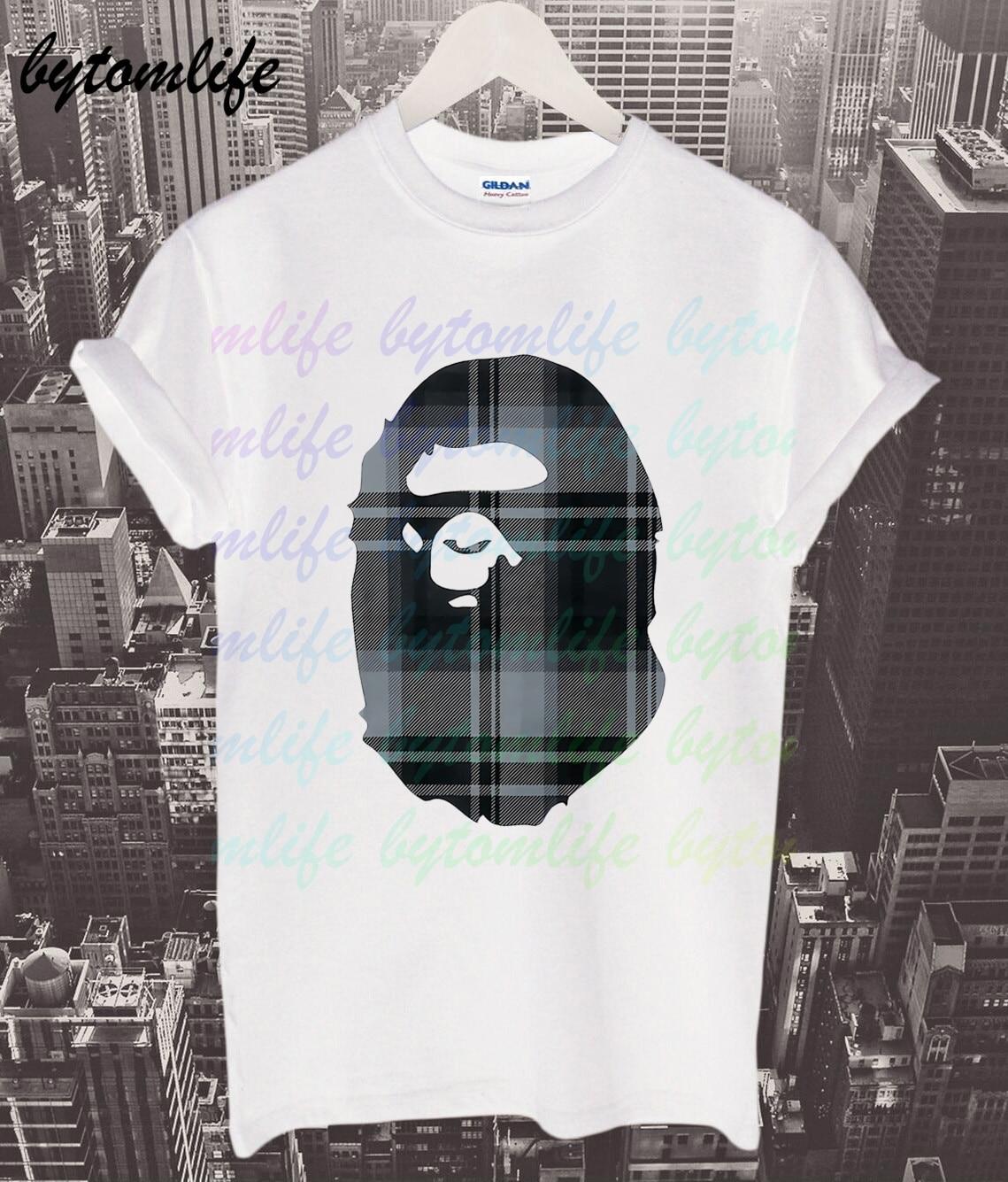 A Bathing T-shirt Summer Print Ape White Black T Shirt Clothes Popular Shirt Cotton Tees Amazing Short Sleeve Unique Men Tops