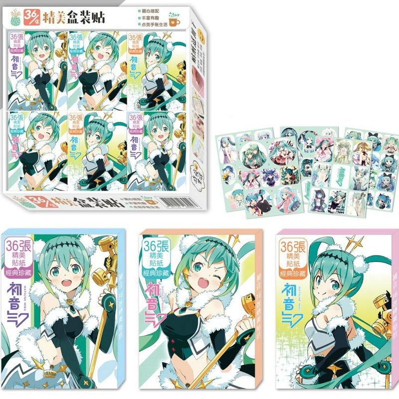 New Plastic Stickers Hatsune Miku Cartoon Anime DIY Props Art Decal Sticker Gift