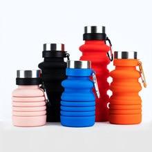 Novo estilo de moda portátil silicone dobrável garrafa de água criativo esportes ao ar livre bicicleta plástico drinkware publicidade copos