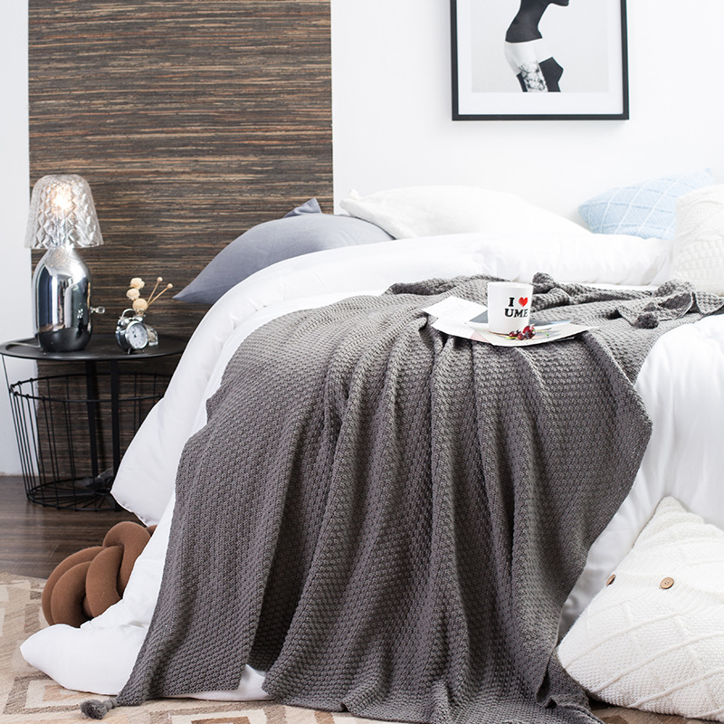 130x170cm Handle-Knitted Tassels Blanket Multi-functional Casual Blanket Cotton Office Nap Blanket Travel Cover Shawl Solid