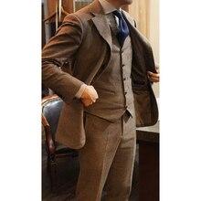 Новейший дизайн пальто брюки коричневый твид мужской костюм Slim Fit 3 шт смокинг на заказ Жених Выпускной блейзер