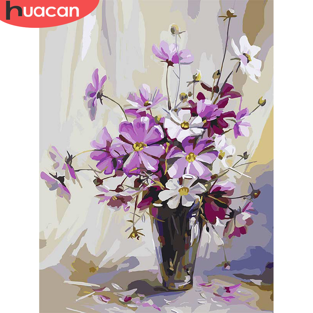 HUACAN DIY Oil Painting By Numbers Flowers In Vase HandPainted Kits Drawing Canvas Pictures Home Decoration Gift