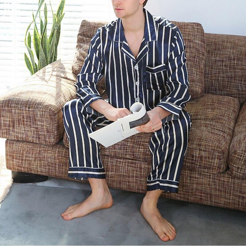 Mens Silk Satin Lounge Pajamas Set Tops & Pants Loungewear Sleepwear Plus Size