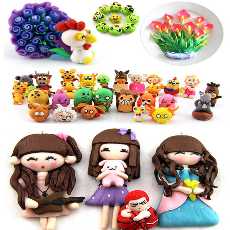 50 Colors Oven Baking Fimo Polymer Clay Modeling Clay Fluffy Slime Toys Fluffy Slime Box Light Plasticine for Children