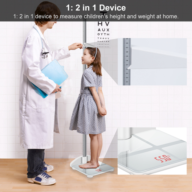 Height Rod Stadiometer Foldable Child Height Meter & Scale 2 in 1, Measuare 79 Inch & 200lbs