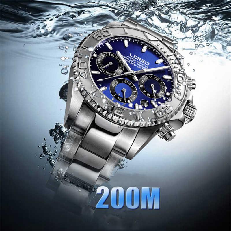 LOREO 防水 200 メートル多機能 6 ピン回転トップブランドシルバーブルーメンズ機械式時計腕時計自動男性 New