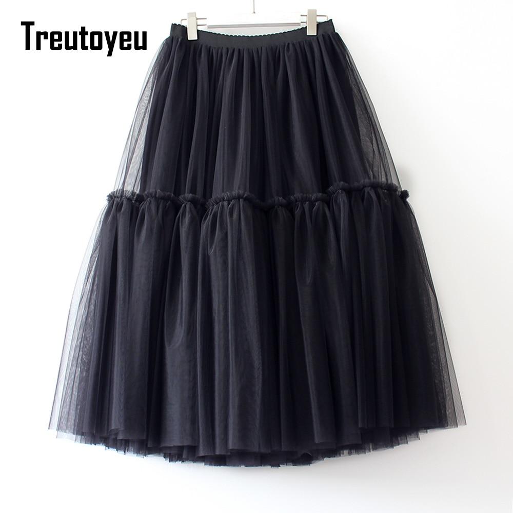 Treutoyeu Design Luxury Pleated Tulle Skirt Black Grey Soft Mesh High Waist Maxi Long Skirts Womens Faldas Mujer Moda 2021 Jupe