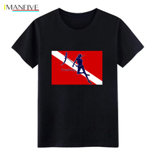 2019 New MenS T Shirt Mens Underwater Spearfishing Freediver with Diving Flag Create 100% Cotton