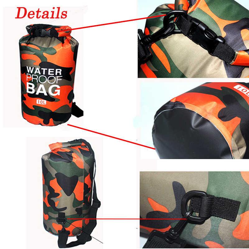 Saco ao ar livre camuflagem portátil rafting mergulho saco seco saco pvc à prova dwaterproof água dobrável natação saco de armazenamento para rio trekking