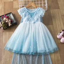 2020 Summer Girls Flying Sleeve Princess Dress Elsa Children's Clothing Dress Frozen 2 Performance Dress Party Birthday Dress(China)