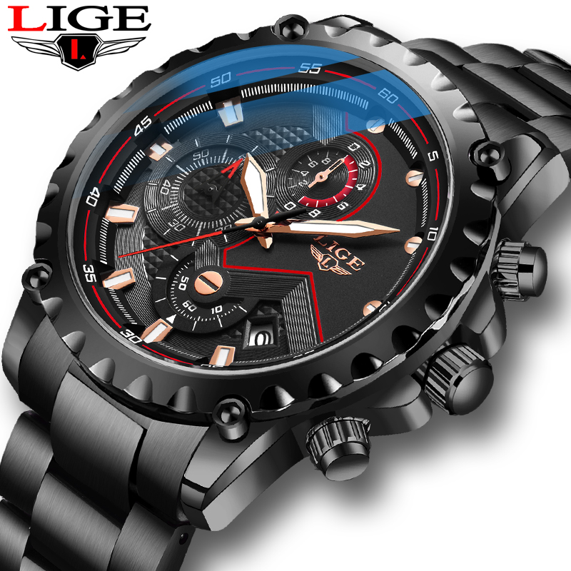 LIGE New Mens Watches Stainless Steel Waterproof Watch Men Fashion Sport Quartz Watch Men Business Date Clock Relojes Hombre+Box