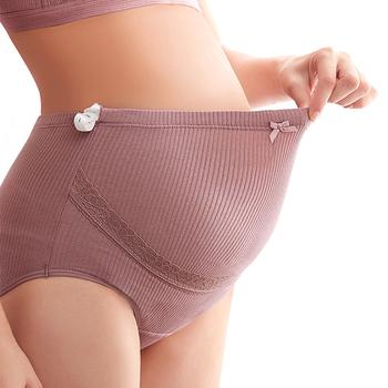 Ciążowe spodnie 3 sztuk kobiety wysokiej talii majtki bielizna bez szwu miękkie opieki brzuch bielizna ciążowe ubrania jakości bawełny tanie i dobre opinie SHOU ZHEN XIAN COTTON Wysoka talia bielizna AB0336 Natural color