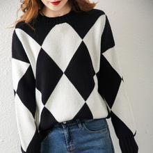 Осенне зимний новый свитер кашемир с круглым вырезом женский