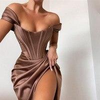 Townlike Stretch Satin Elegante Kleid Frauen Hohe Split Off Schulter Sexy Party Kleid 2021 Sommer Kleider Mit Fishbone Vestidos