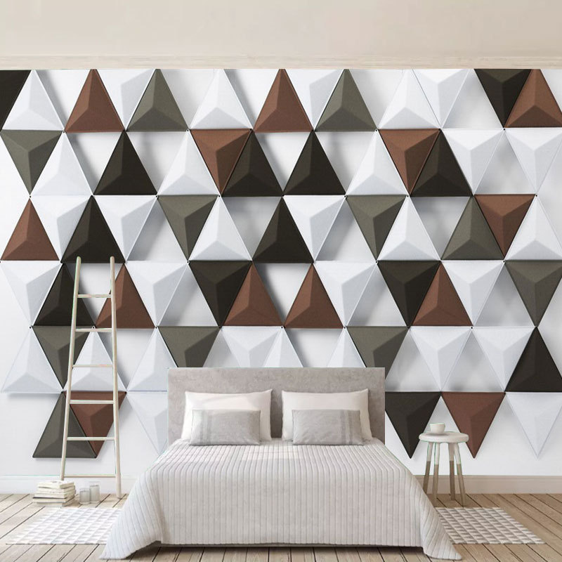 Northern European-Style Modern Minimalist 3D Triangular Wallpaper Living Room Bedroom TV Backdrop Wall Wallpaper Customize The M