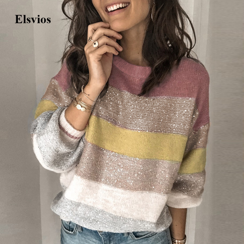 Glitter Patchwork Striped Femme Sweater Autumn Women O Neck Knitted Pullover Tops Winter Long Sleeve Shiny Sweaters Pull Jumper