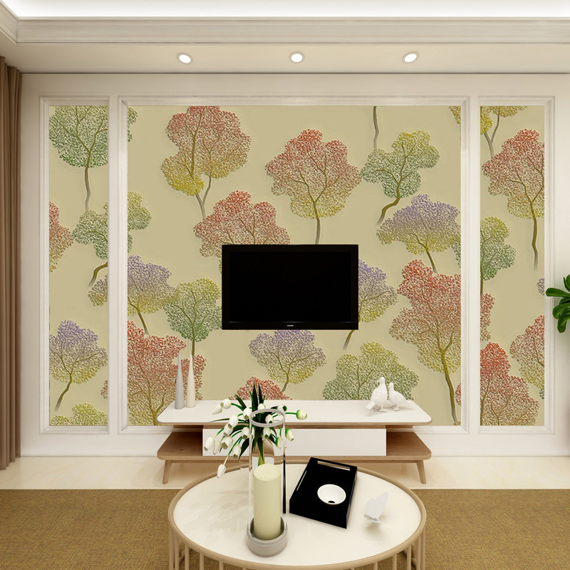European Style 3D Relief Leaf Non-woven Wallpaper Living Room Television Sofa Wall Wallpaper Bedroom Mural