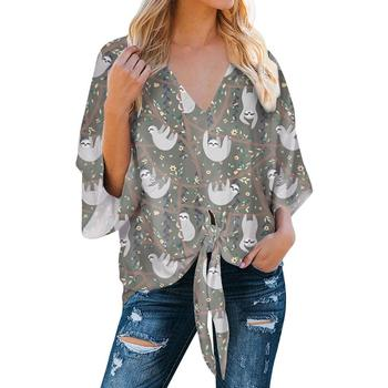 Wholesale custom made Cartoons Sloth Printing Deep V-neck Sexy Flared Sleeves fashion Sexy Casual Looses Chiffon Women Shirts black lace details v neck flared sleeves bodysuit