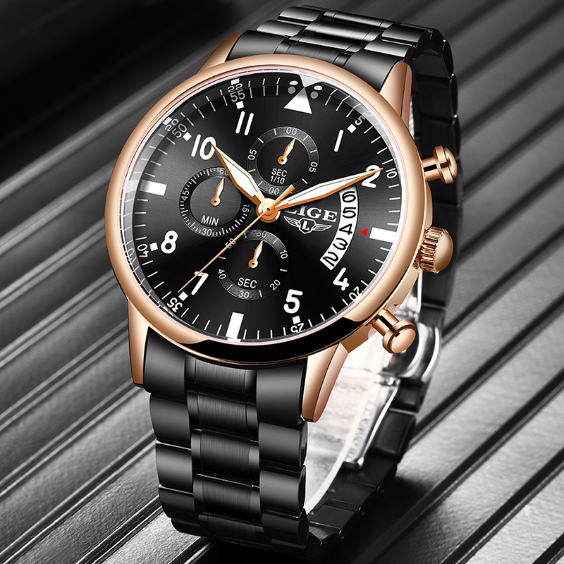 2020LIGE New Mens Watches Top Brand Luxury Sport Chronograph Stainless Steel Waterproof Quartz Clock Watch Men Innrech Market.com