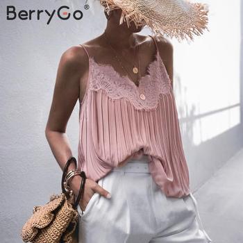 BerryGo elegante encaje bordado Rosa tapas mujeres Sexy cuello en V Mujer camis camiseta verano tirantes espagueti señoras remeras camisa 2020