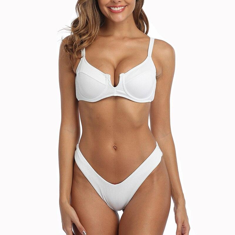 V Top Bikini 2020 Solid Swimsuit Women Swimwear V Top Brazilian Bikini Set Biquini Summer Beach Bathing Suit High Cut Swim Wear
